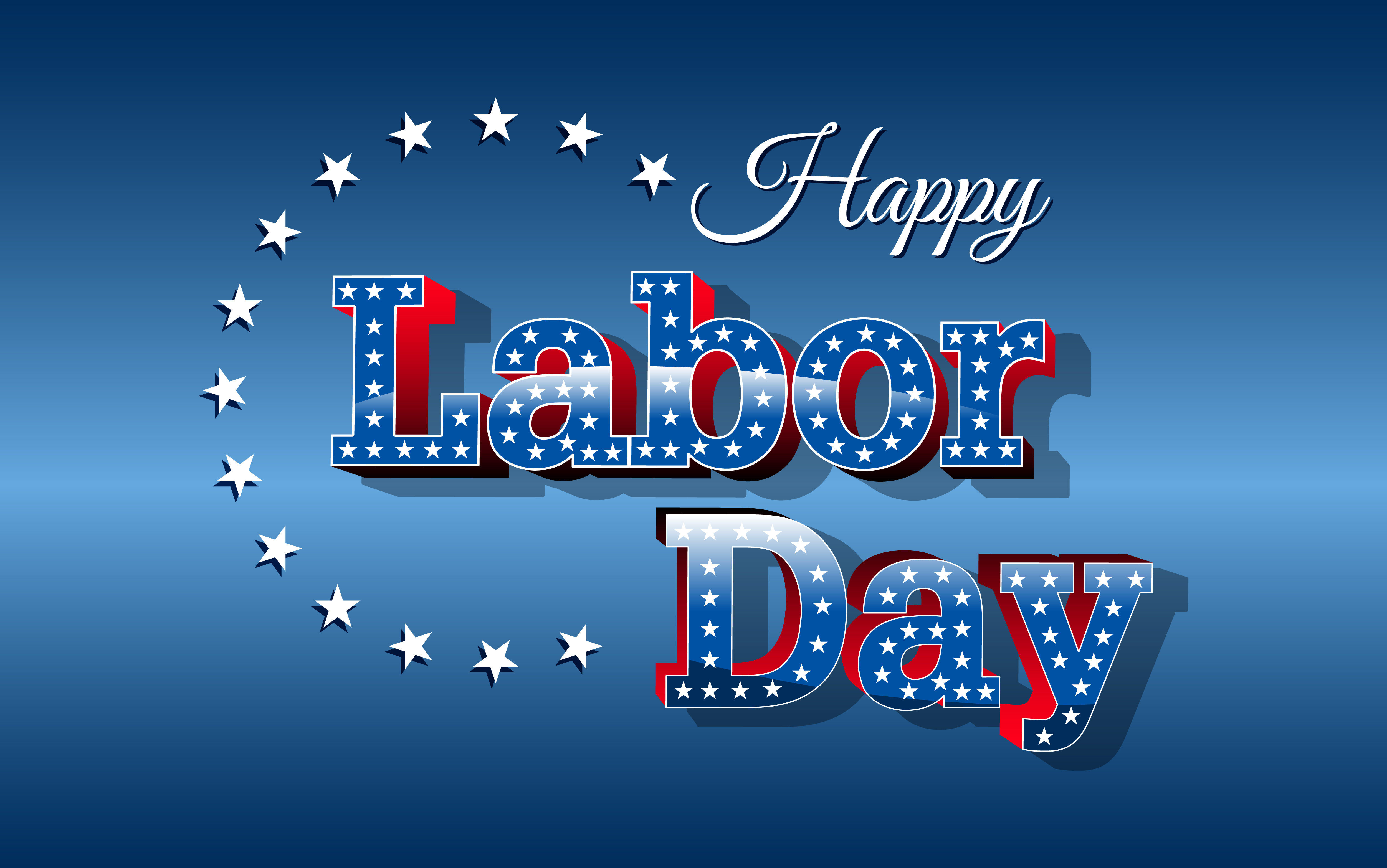 blue and red banner reading happy labor day