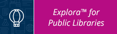 blue and pink Explora for Public Libraries Button