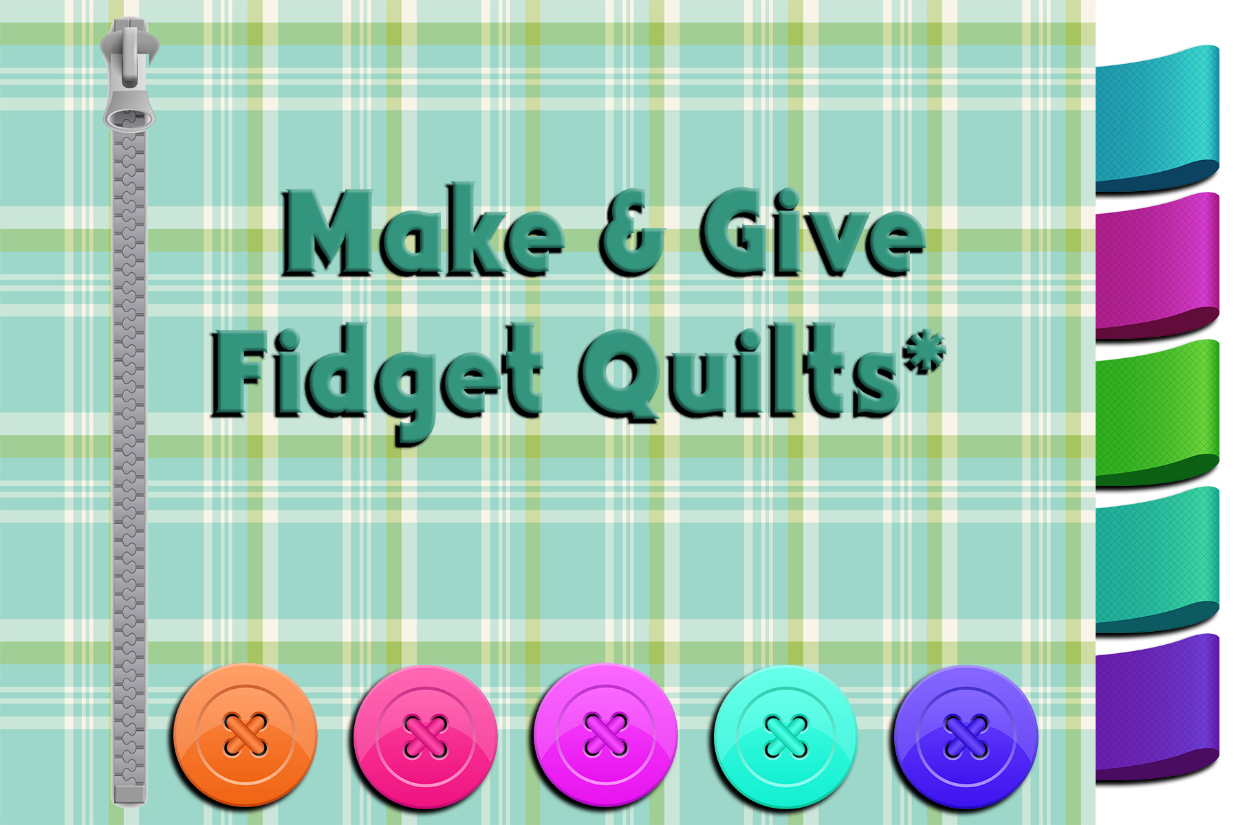 plaid background with buttons, a zipper, and cloth tags